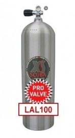 Tanque Luxfer 100 cf @ 3300 psi con valvula Pro yoke/DIN